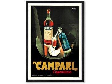 Campari, affiche illustrée en couleur et cadre noir format A1