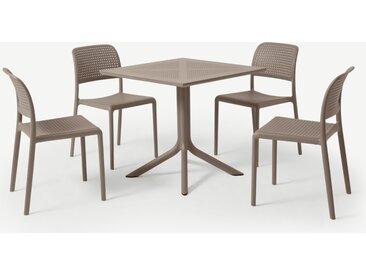 Nardi, ensemble table et 4 chaises, fibre de verre et résine gris clair