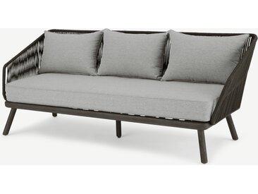 Alif, canapé d'extérieur 3 places en résine tressée, tissu et bois d'eucalyptus gris