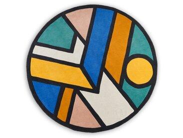 Supermundane, grand tapis rond en laine 200 cm de diamètre, multicolore