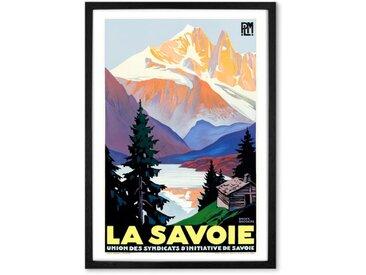 La Savoie, affiche de voyage en couleur et cadre noir format A2