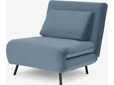 Kahlo, fauteuil convertible, velours bleu arctique