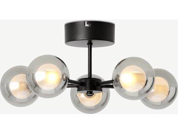 Masako, plafonnier LED 5 ampoules, verre fumé et opale