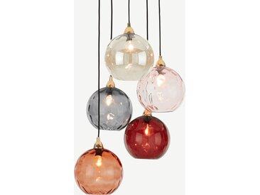 Ilaria, suspension multiple 5 ampoules , verre teinté tons de rouge et laiton