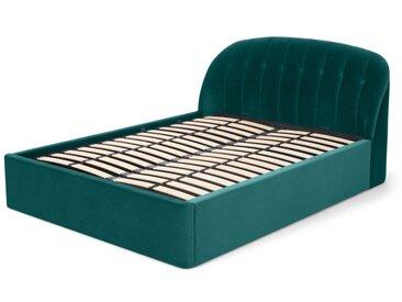 Margot, lit king size avec banc de rangement (160 x 200), velours bleu écume