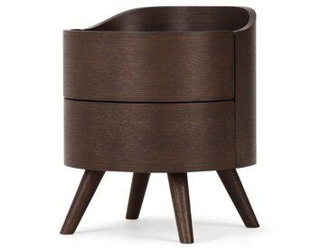 Ada, table de chevet avec 2 tiroirs, chêne teinté foncé