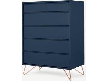 Elona, commode haute semainier 6 tiroirs, bleu et cuivre