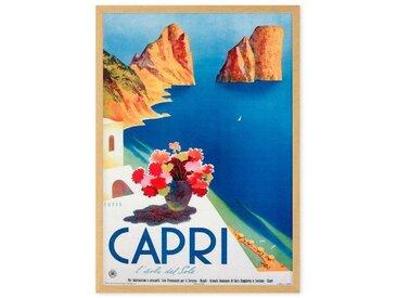 Capri, affiche touristique en couleur et cadre chêne format A1