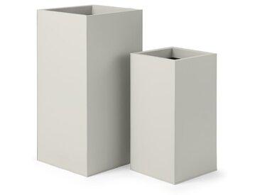 Razan, lot de 2 grands cache-pots carrés en acier galvanisé, pierre