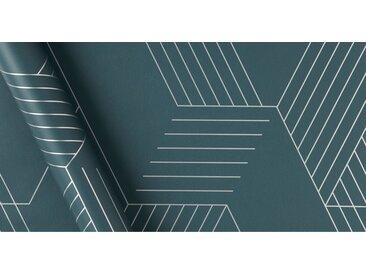 Pascal, papier peint à motif géométrique, rouleau de 10 m, bleu Égée et argenté