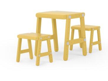 Tonk, ensemble table de jeu pour enfant et 2 tabourets, jaune