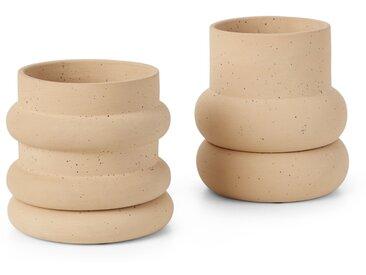 Bosca, lot de 2 cache-pots en terre cuite avec soucoupe, sable
