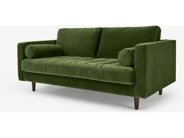 Scott, grand canapé 2 places, velours de coton vert gazon