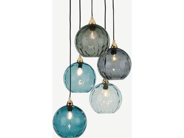Ilaria, suspension multiple 5 ampoules, verre teinté tons bleus et laiton