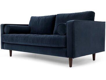Scott, grand canapé 2 places, velours bleu marine