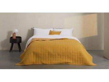 Dorin, couvre-lit matelassé 130 x 200 cm, jaune moutarde