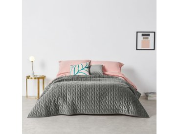 Julius, couvre-lit 225 x 220 cm en velours gris argenté
