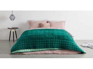 Syrah, couvre-lit 100% velours de coton 225 x 220 cm, vert sombre