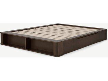 Kano, lit à tiroirs double (140 x 200) avec sommier à lattes, bois teinté noyer