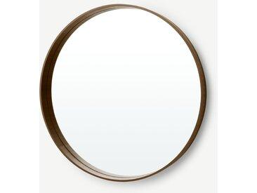 Bex, grand miroir rond 76 cm de diamètre, noyer