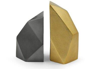 Akimbo, serre-livres métalliques à facettes, laiton et nickel