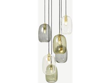 Lykke, lustre 6 ampoules, multicolore et laiton