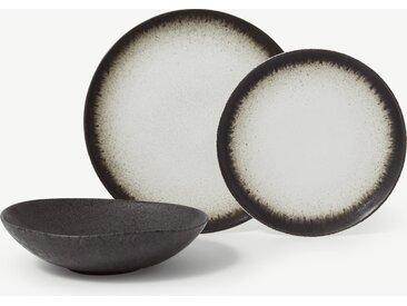 Alicia, service de 12 pièces à glaçure réactive, blanc doux et gris charbon