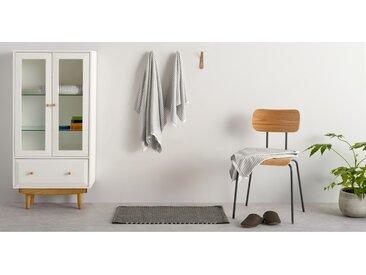 Santorini lot de 2 serviettes essuie-mains à rayures, gris éléphant