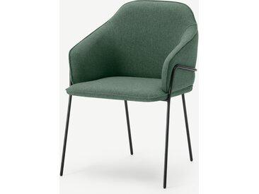 Stanley, chaise avec accoudoirs, tissu vert baie et pieds en métal noir