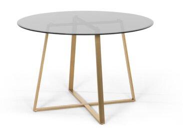 Haku, grande table ronde, laiton et verre fumé