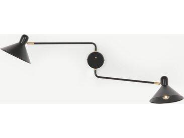 Ogilvy, applique murale double à bras articulés, métal noir mat et laiton patiné