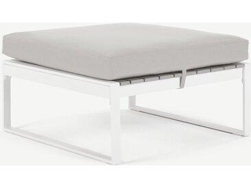 Catania, ottomane modulable pour canapé d'extérieur en bois composite polywood, tissu gris et métal blanc