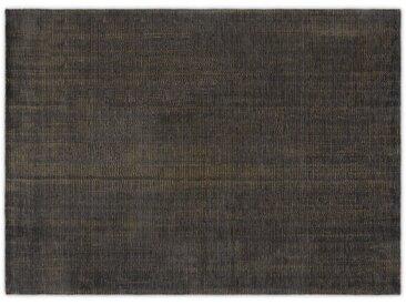 Johson, grand tapis luxueux 160 x 230 cm, gris charbon et doré