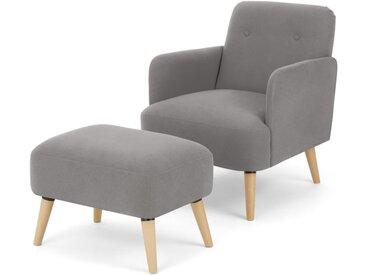 Elvi, fauteuil et repose-pieds, gris chamallow