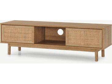 Pavia, grand meuble TV, rotin naturel et effet chêne
