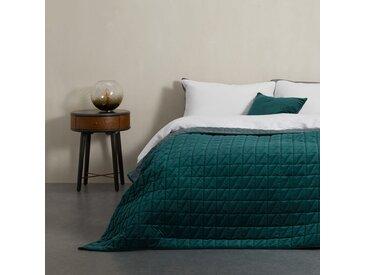 Julius, couvre-lit en velours 225 x 220 cm, bleu canard