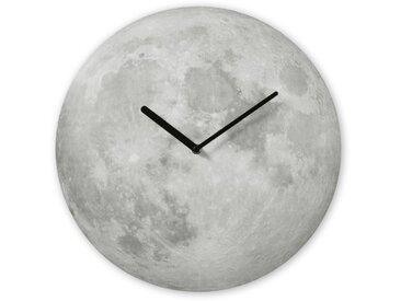 Lua, horloge murale sérigraphiée en forme de lune 40 cm