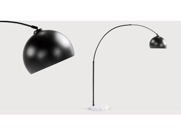 Bow, grand lampadaire arqué, noir et marbre blanc