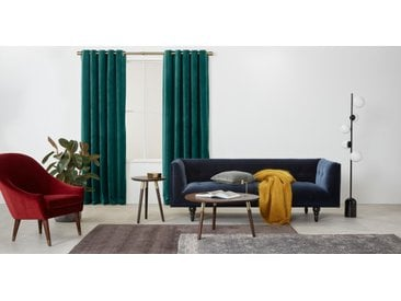Julius, une paire de rideaux à œillets doublés en velours 135 x 260 cm, bleu canard