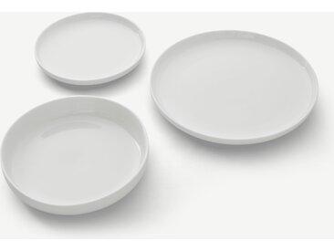 Leah, service de table de 12 pièces en porcelaine, blanc