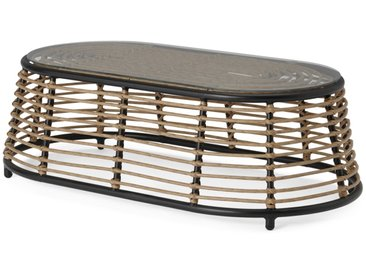 Swara, table basse d'extérieur, rotin naturel et verre