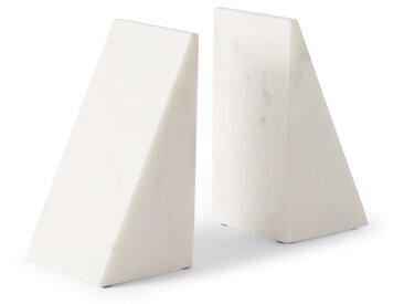 Elisa, lot de 2 serre-livres en marbre, blanc