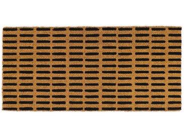 Roel, long paillasson en fibre de coco 50 x 110 cm, naturel et tirets noirs