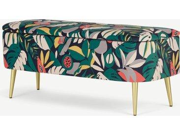 Abel, banc coffre tapissé, motif floral Le Curieux et pieds laiton