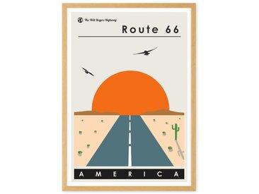 Route 66, affiche touristique en couleur et cadre chêne format A2