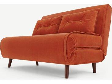Haru, petit canapé convertible, velours orange flamme