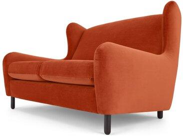 Rubens, canapé 2 places, velours orange flamme