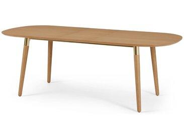 Edelweiss, table extensible ovale pour 6 à 8 personnes, chêne et laiton