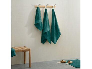 Kacee, lot de 4 serviettes de toilette 100% coton, bleu canard foncé