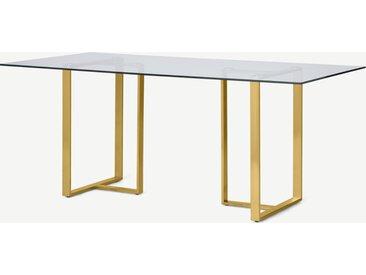 Saffie, table rectangulaire 6 personnes, laiton et verre